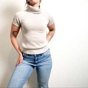 Vintage Chunky Knit Turtleneck Short Sleeve